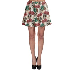 Colorful Skull Hearts And Flowers Skater Skirt