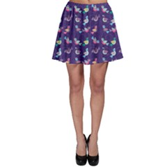 Purple With Color Pattern Birds Skater Skirt