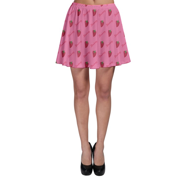 Pink Pattern of Sketched Strawberry Skater Skirt