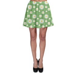 Green Chamomiles On Green Checkered Pattern Skater Skirt by CoolDesigns