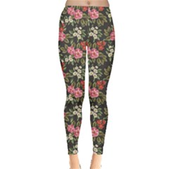 Colorful Floral Pattern With Pink White And Red Flowers Leaves Leggings by CoolDesigns
