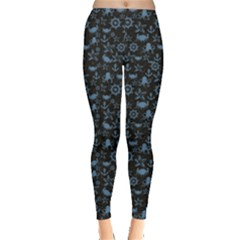 Dark Sea Life Pattern On Black In Square Format Leggings by CoolDesigns