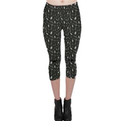 Black Pattern With Various Music Symbols Capri Leggings by CoolDesigns