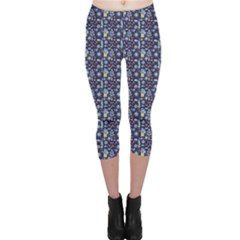Blue Blue Doodle Pattern With Trees Flowers Owls And Clouds Capri Leggings by CoolDesigns