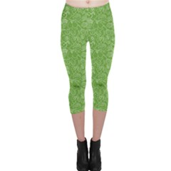 Green Fruits Pattern Capri Leggings by CoolDesigns