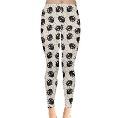 Black Elegant Pattern With Ladybugs Leggings by CoolDesigns