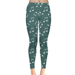 Green Music Elements Notes Gray Pattern Leggings