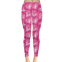 Pink Love Concept Pattern With Lace Hearts Leggings by CoolDesigns