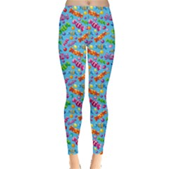 Colorful Of A Pattern Candies Blue Leggings