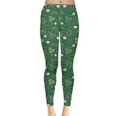 Green Hand Drawn Pattern With Celtic Elements Leggings