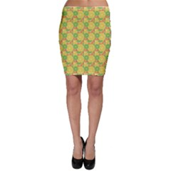 Yellow Citrus Pattern Wallpaper Bodycon Skirt by CoolDesigns