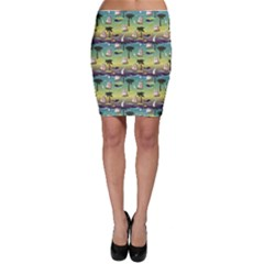 Colorful Cute Tropical Pattern With Ships Palms And Whales Bodycon Skirt