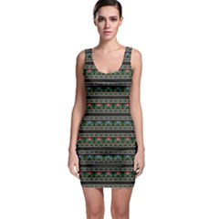 Dark Polish Folk Art Pattern With Flowers Wzory Lowickie Bodycon Dress by CoolDesigns