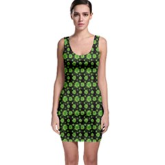 Green Shamrock Pattern Black Bodycon Dress by CoolDesigns