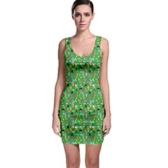 Green Snails Mushrooms Pattern Bodycon Dress by CoolDesigns