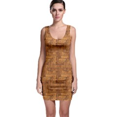 Brown Naturalistic Texture Of Wooden Parquet Bodycon Dress