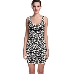 Black Pattern With Cartoon Cows Black And White Bodycon Dress by CoolDesigns