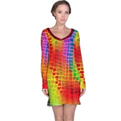Colorful Snake Skin Long Sleeve Nightdress by CoolDesigns