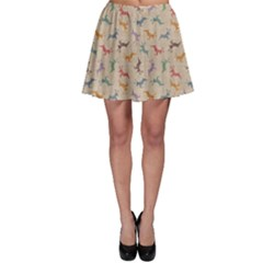 Brown Retro Christmas Pattern with Colorful Deers on A Vintage Skater Dress by CoolDesigns