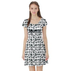 Gray Pattern Of Silhouette Set Of Animals Short Sleeve Skater Dress by CoolDesigns