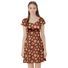 Brown Cute Floral Pattern In Brown Colors Short Sleeve Skater Dress by CoolDesigns