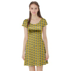 Green Ufo Planet Pattern Short Sleeve Skater Dress by CoolDesigns