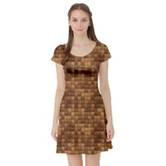 Brown Wooden Blocks Stacked Short Sleeve Skater Dress