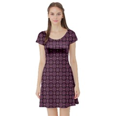 Purple Pattern With Bats And Bones Short Sleeve Skater Dress by CoolDesigns
