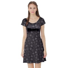 Black Christmas Ball Pattern Short Sleeve Skater Dress by CoolDesigns