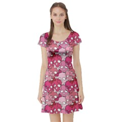 Pink Pattern Of Pink Girl Skulls With Bow On A White Short Sleeve Skater Dress by CoolDesigns