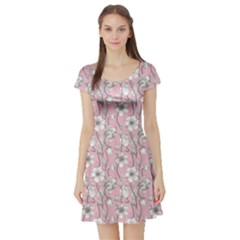 Pink Vintage Floral Pattern With Gray Anemones On A Pink Short Sleeve Skater Dress by CoolDesigns