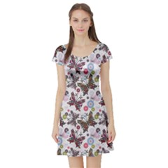 Colorful Floral Pattern With Colorful Butterflies And Gray Drops Short Sleeve Skater Dress by CoolDesigns