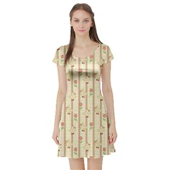 Yellow Cute Duck Pattern Short Sleeve Skater Dress