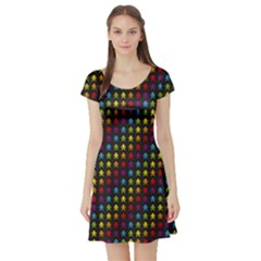 Black Rainbow Retro Videogame Pixel Monkeys Pattern Short Sleeve Skater Dress