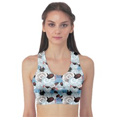 Blue Graphic Pattern Of Different Seashells Women s Sport Bra by CoolDesigns