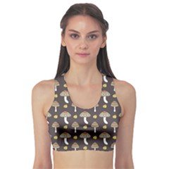 Dark Of Pattern With Abstract Mushrooms And Leaves Women s Sport Bra
