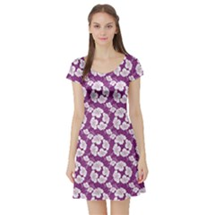 Purple With Hibiscus Flower Hawaiian Patterns Short Sleeve Skater Dress by CoolDesigns