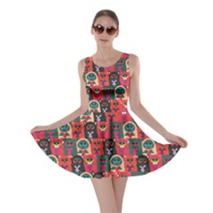 Red Cats With Hearts In Hands Pattern Stylish Design Skater Dress by CoolDesigns