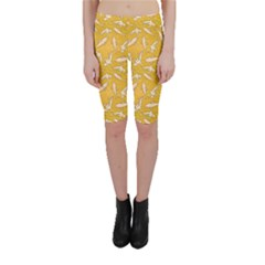 Yellow With Stylized Sharks Stylish Design Cropped Leggings by CoolDesigns