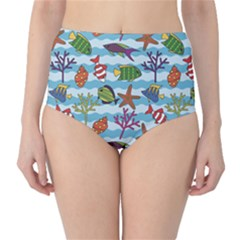Blue Pattern With Colorful Fish And Coral On Wavy High Waist Bikini Bottom by CoolDesigns