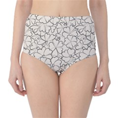 Gray Floral Pattern High Waist Bikini Bottom by CoolDesigns
