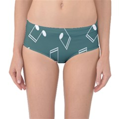 Green Music Elements Notes Gray Pattern Mid Waist Bikini Bottom by CoolDesigns