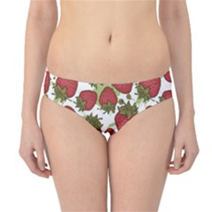 Red Pattern With Strawberries Graphic Stylized Drawing Hipster Bikini Bottom by CoolDesigns