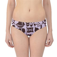 Purple Pattern On Pirate Theme With Objects And Elements Hipster Bikini Bottom by CoolDesigns