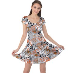 Brown Cute Valentine S Pattern With Hearts Cap Sleeve Dress by CoolDesigns