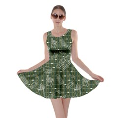 Green Fast Food Stylish Design Skater Dress by CoolDesigns