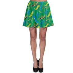 Green Mexican Pattern Cactus Hat Colors Chilli Mexico Ribbon Skater Dress by CoolDesigns