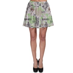 Green Paris Pattern Stylish Design Skater Dress