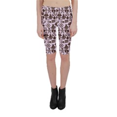 Purple Pattern On Pirate Theme With Objects And Elements Cropped Leggings by CoolDesigns