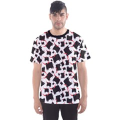 Black Bull With Red Horns Pattern Design Element Men s Sport Mesh Tee by CoolDesigns